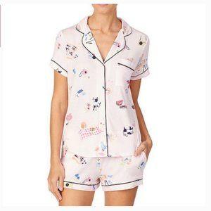 Kate Spade Picnic Printed Pink PJ Pajama Top S nwt
